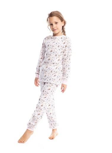 Pamuk & Pamuk Kız Çocuk Geometrik Desen Pamuklu Pijama Takımı Renkli